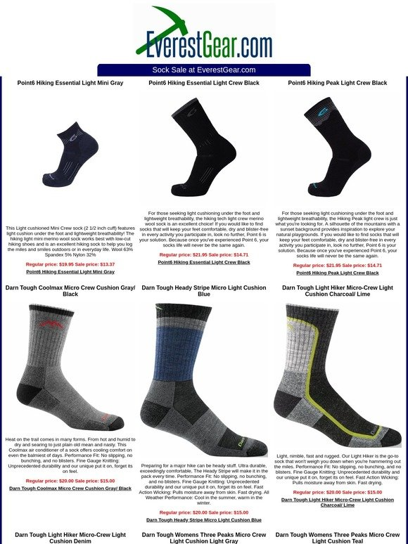 7d4761a314931 EverestGear.com: The Darn Tough and Point6 Sale to knock your socks off |  Milled