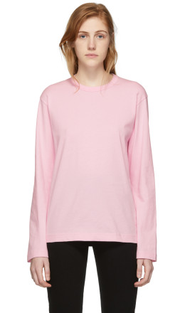 Comme des Garçons Shirt - Pink Logo Men's Fit Long Sleeve T-Shirt