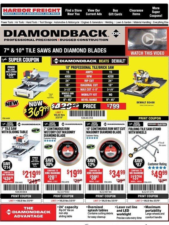 diamondback tile saws
