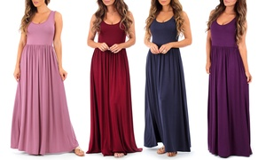 Women's Ruched Maxi Dress. Plus Sizes Available.