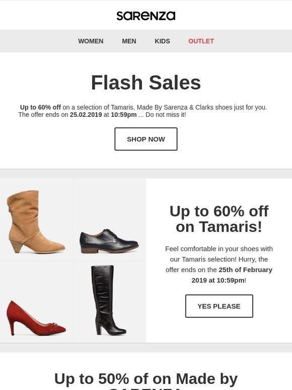 Sarenza: FLASH SALES: Up to 60% off on Tamaris, Clarks