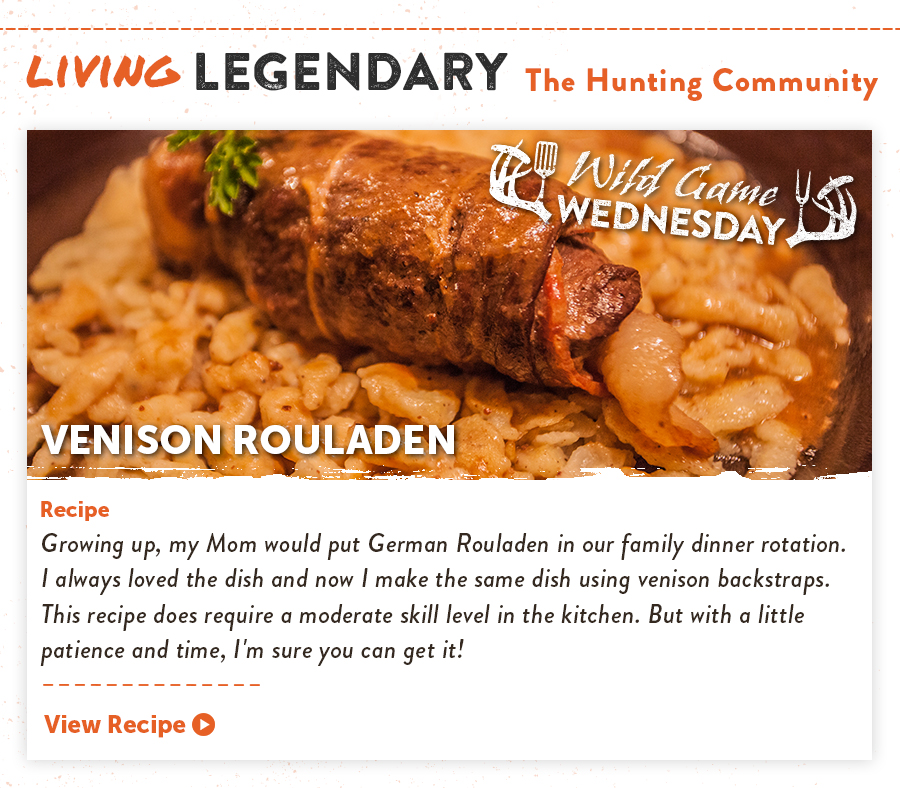 Living Legendary - Wild Game Wednesday: Venison Rouladen