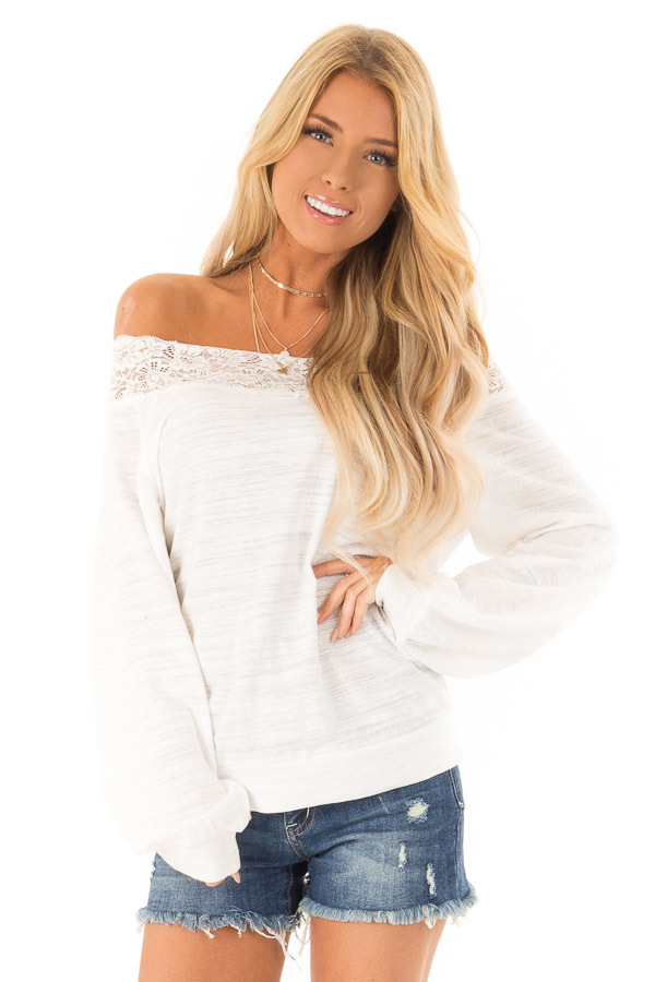 efd63418b92 ... Off White Off Shoulder Long Sleeve Top with Lace Detail ...