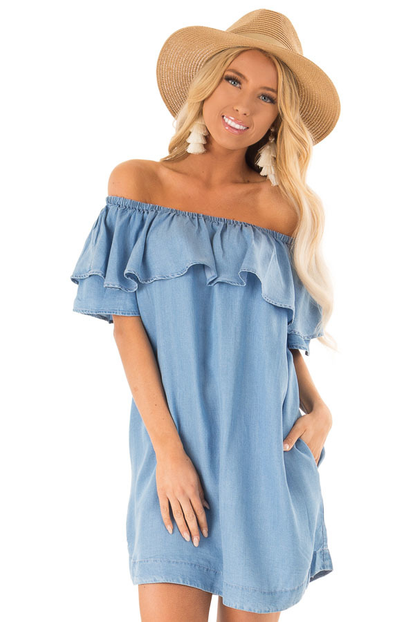 136cd2498c2 ... Chambray Ruffle Off the Shoulder Mini Dress with Pockets