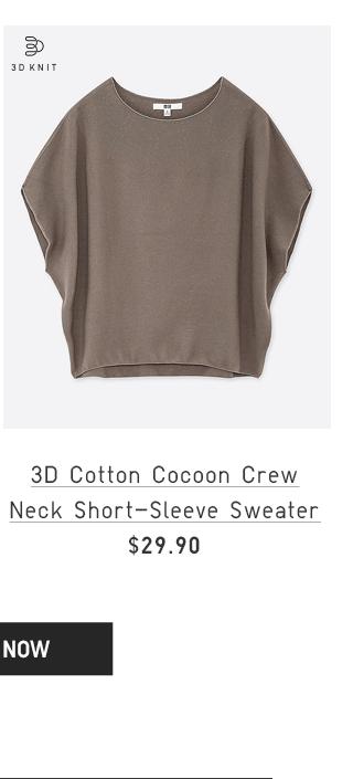 3D COTTON COCOON CREW NECK SHORT-SLEEVE SWEATER $29.90