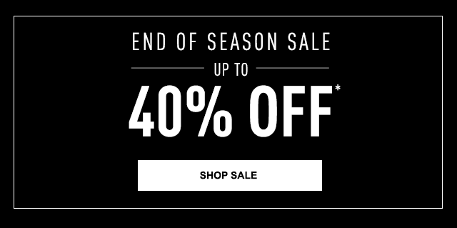 END OF SEASON SALE UP TO 40 PERCENT OFF,  Black and white image