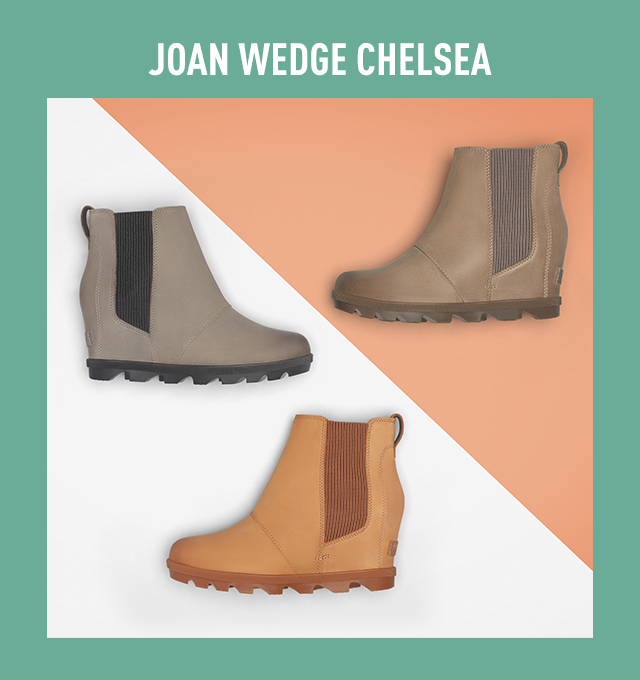 Three  Joan Wedge Chelsea boots on a yellow and white background