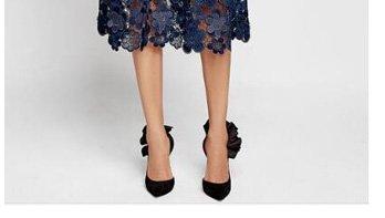 a0f921bb0494 choies, Navy Blue Mesh Panel 3D Floral Lace Double Layer Midi Dress