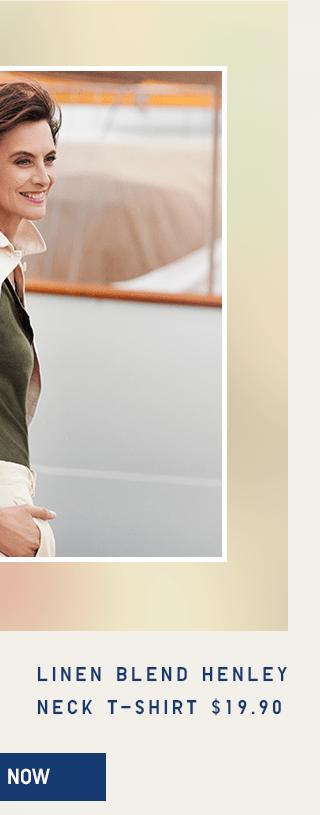 LINEN BLEND HENLEY NECK T-SHIRT $19.90 - SHOP NOW