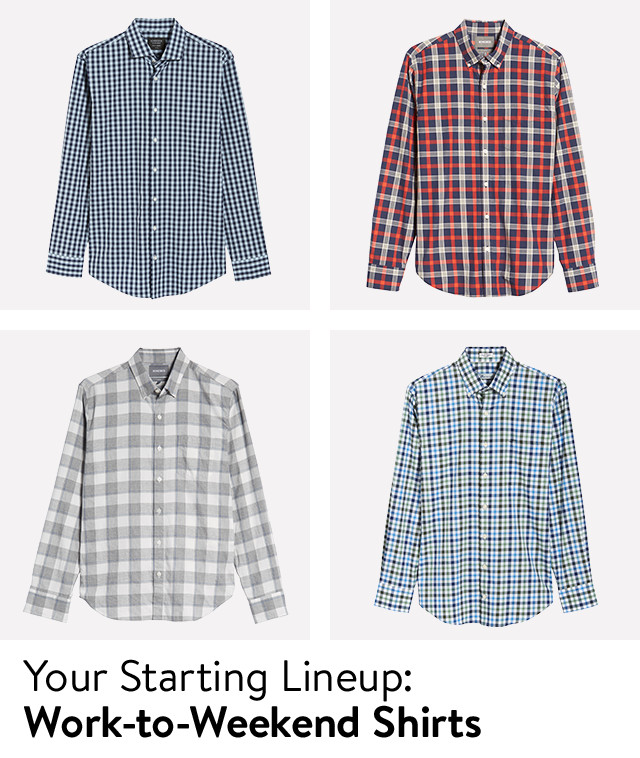 Your starting lineup: work-to-weekend shirts for men.