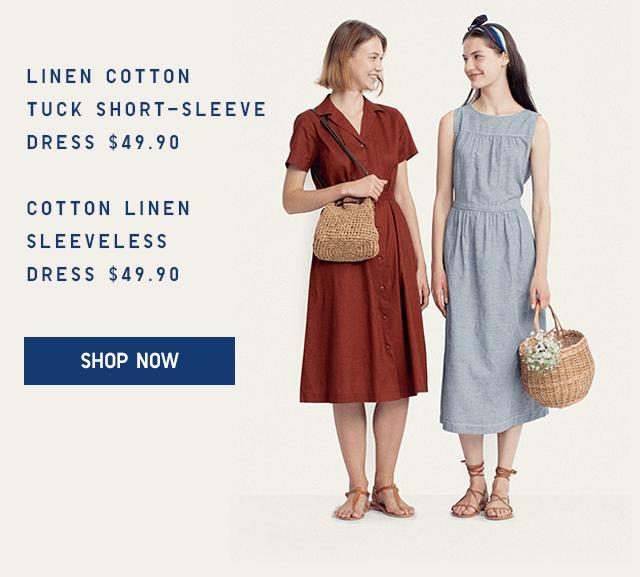 LINEN COTTON TUCK SHORT-SLEEVE DRESS $49.90, COTTON LINEN SLEEVELESS DRESS $49.90 - SHOP NOW