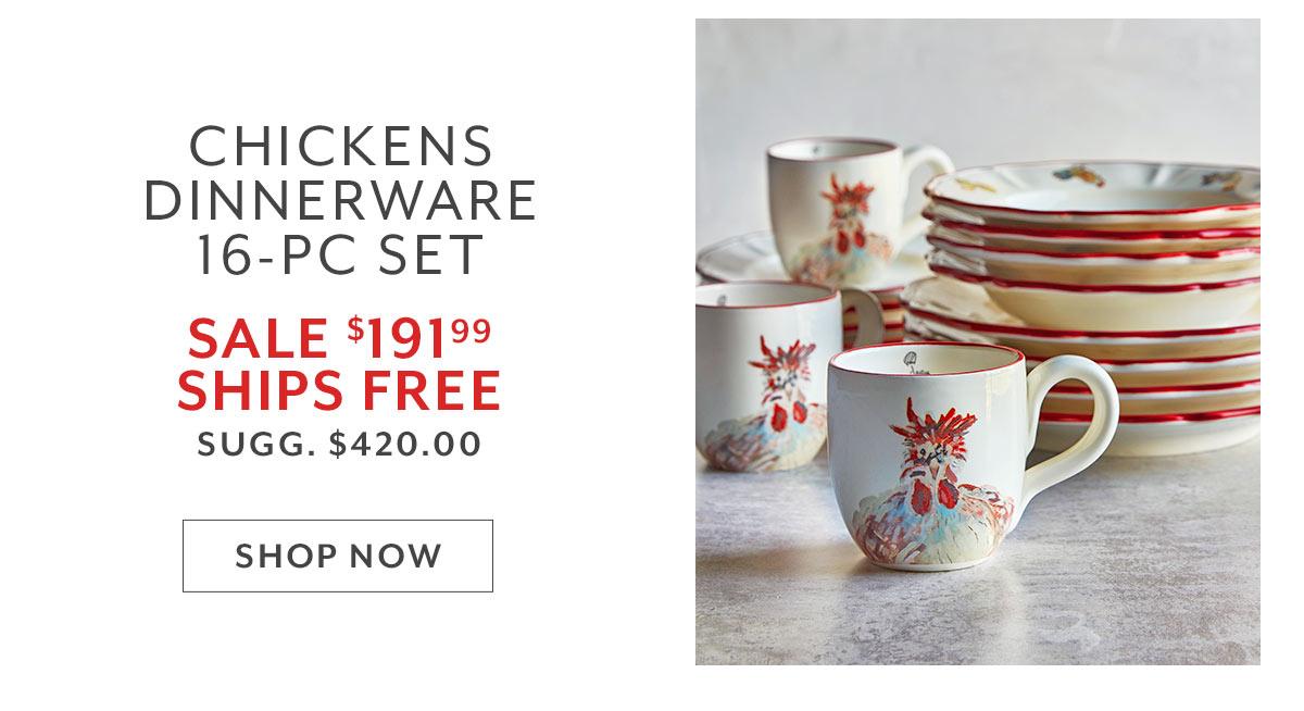 16-Piece Chickens Dinnerware Set