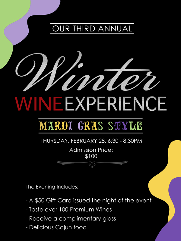 Winter Wine Experience Mardi Gras Style - Feb 28, 6.30pm, click for details