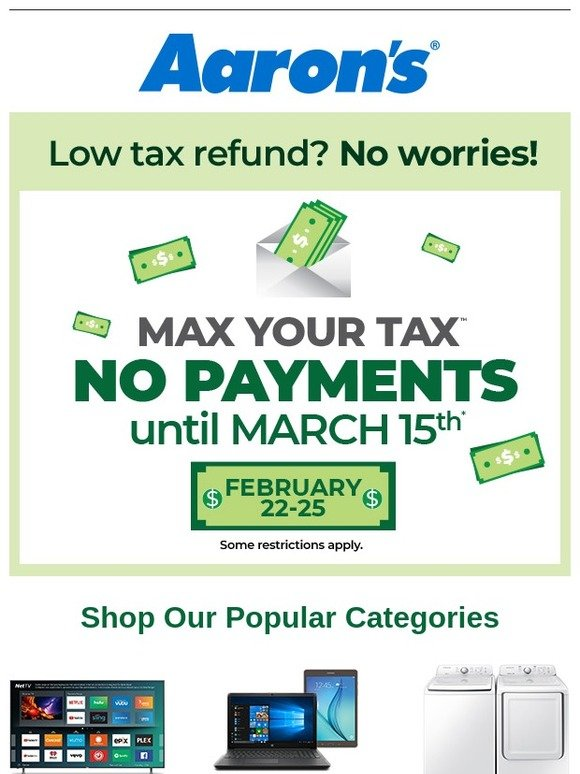 Aarons Max Your Tax Refund Milled