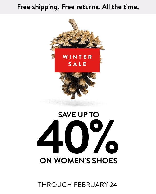 Save up to 40% on women's shoes.