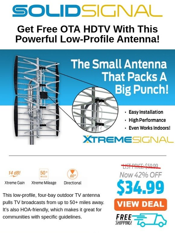 Solid Signal: Xtreme Signal 50+ Mile Outdoor Antenna, Now Just