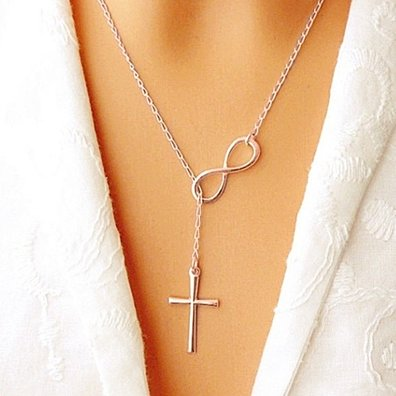Italian Infinity Cross Lariat Necklace in Solid Sterling Silver