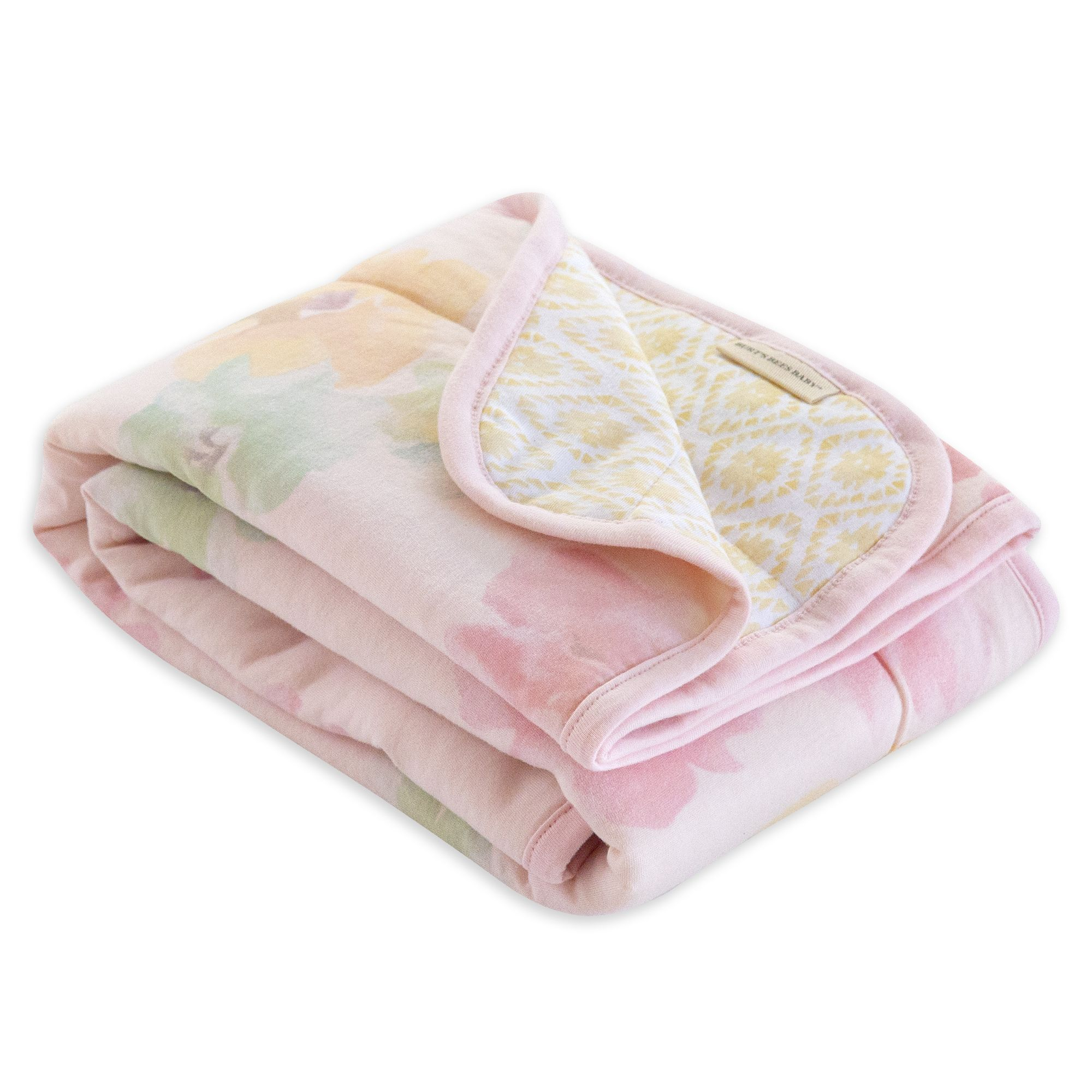 Watercolor Morning Glory Jersey Knit Organic Reversible Baby Blanket