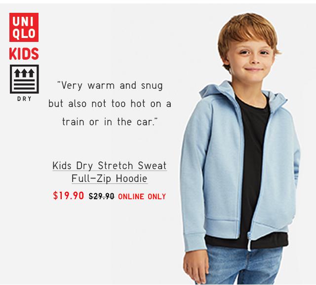 KIDS DRY STRETCH SWEAT FULL-ZIP HOODIE $19.90