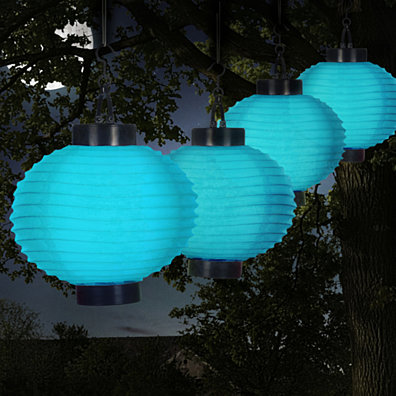 Pure Garden Outdoor Solar Chinese Lanterns - LED - Set of 4 - Blue