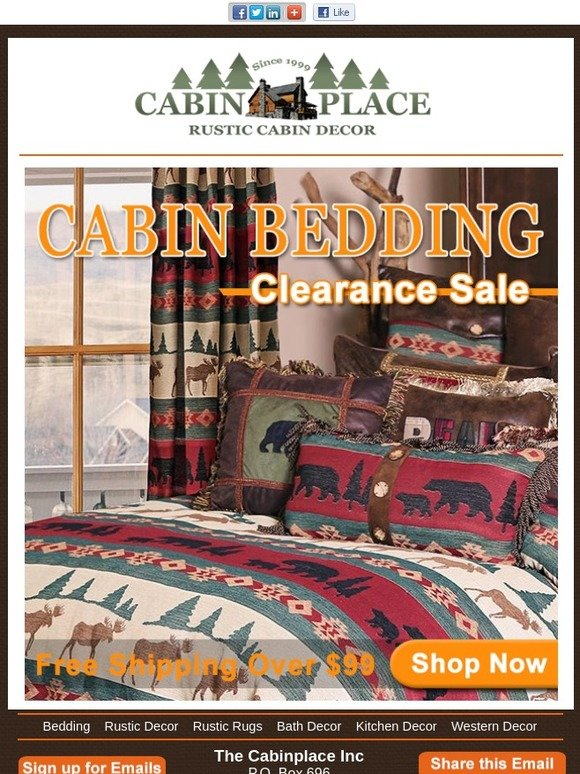 The Cabin Place Inc Cabin Bedding Clearance Sale Milled