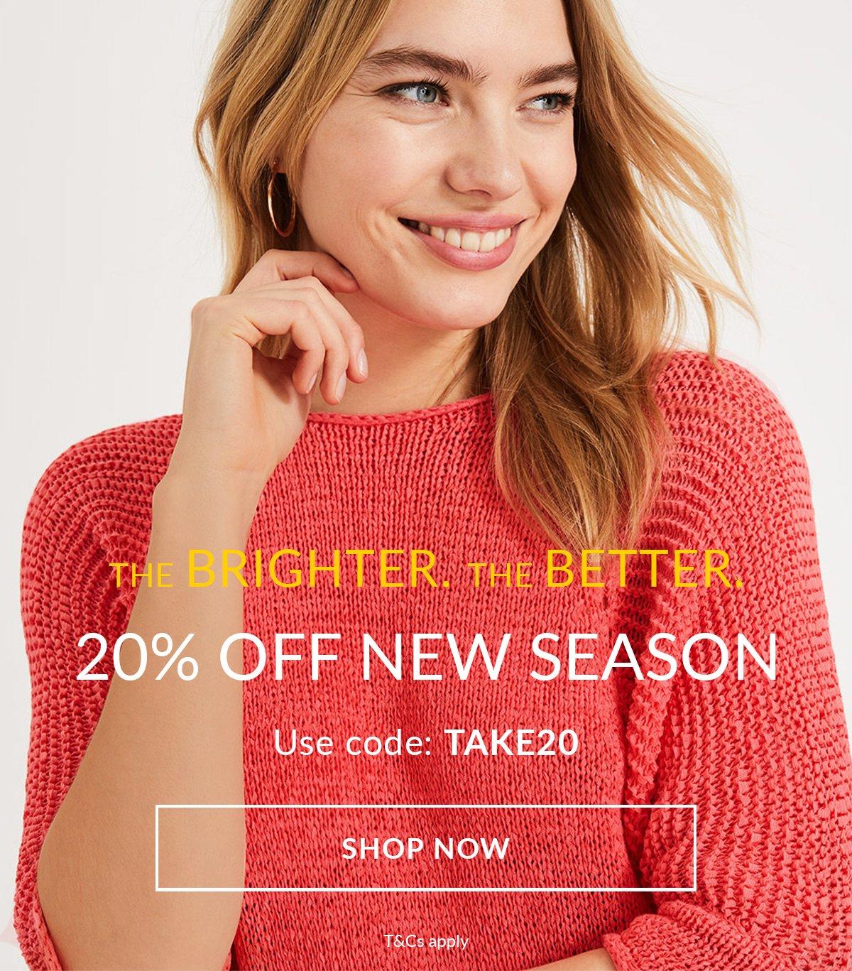 20% off new season Shop now