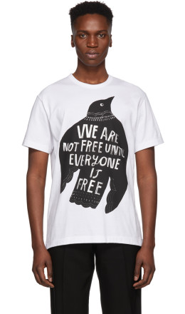 Comme des Garçons Homme Plus - White 'We Are Not Free' T-Shirt