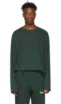 Essentials - Green Boxy Long Sleeve T-Shirt