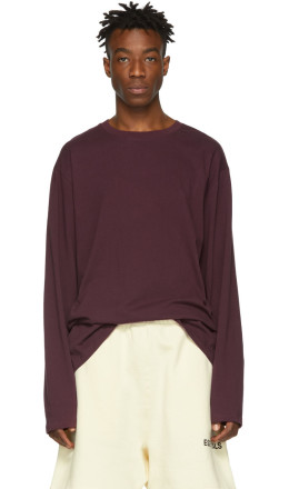 Essentials - Burgundy Boxy Long Sleeve T-Shirt