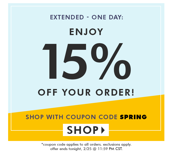 Enjoy 15% off with coupon code SPRING
