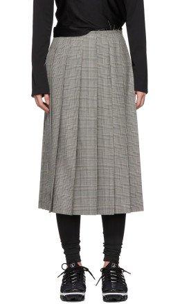 Comme des Garçons - Black & White Pleated Side Slit Skirt
