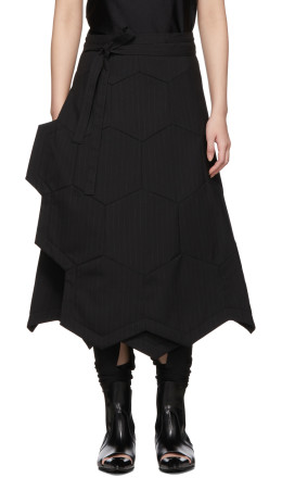 Comme des Garçons - Black Wool Striped Honeycomb Panel Skirt