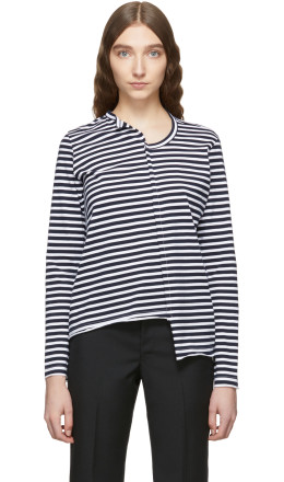 Junya Watanabe - Black & White Striped Jersey Asymmetric T-Shirt