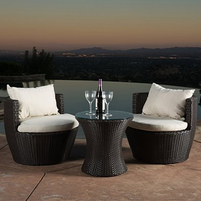 Kyoto Outdoor Brown Wicker 3-piece Chat Set