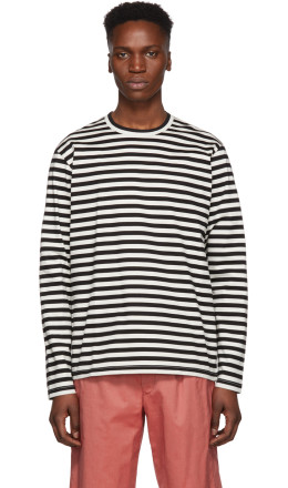 Junya Watanabe - Black & Off-White Horizontal Stripes T-Shirt