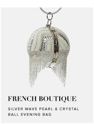 French Boutique - Silver Wave Pearl & Crystal Ball Evening Bag
