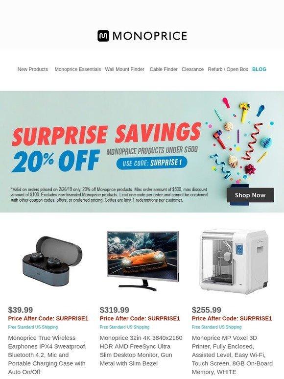 Monoprice com: STARTS NOW: 20% OFF Monoprice Products Under