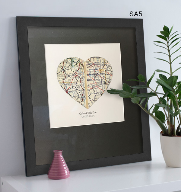 DIY framed heart map project.