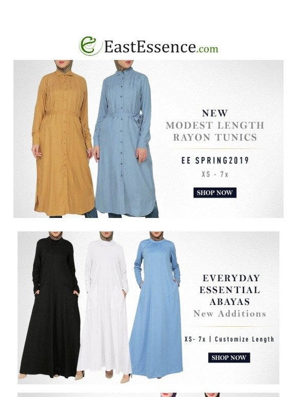 f87aaf0fb0d8d East Essence: Check out our Spring Collections | Modest Length Rayon tunics  | Boys thobes starting $31.99 | Womens Abayas starting $21.99 | Burkinis  and ...