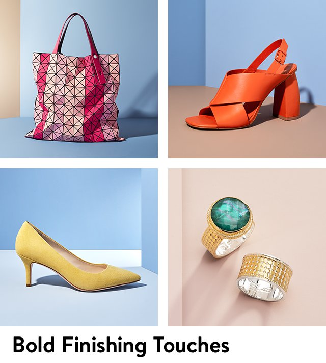 Colorful shoes, handbags and jewelry.