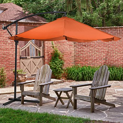 Offset 10 Foot Aluminum Hanging Patio Umbrella Terracotta with Cross Base Bars