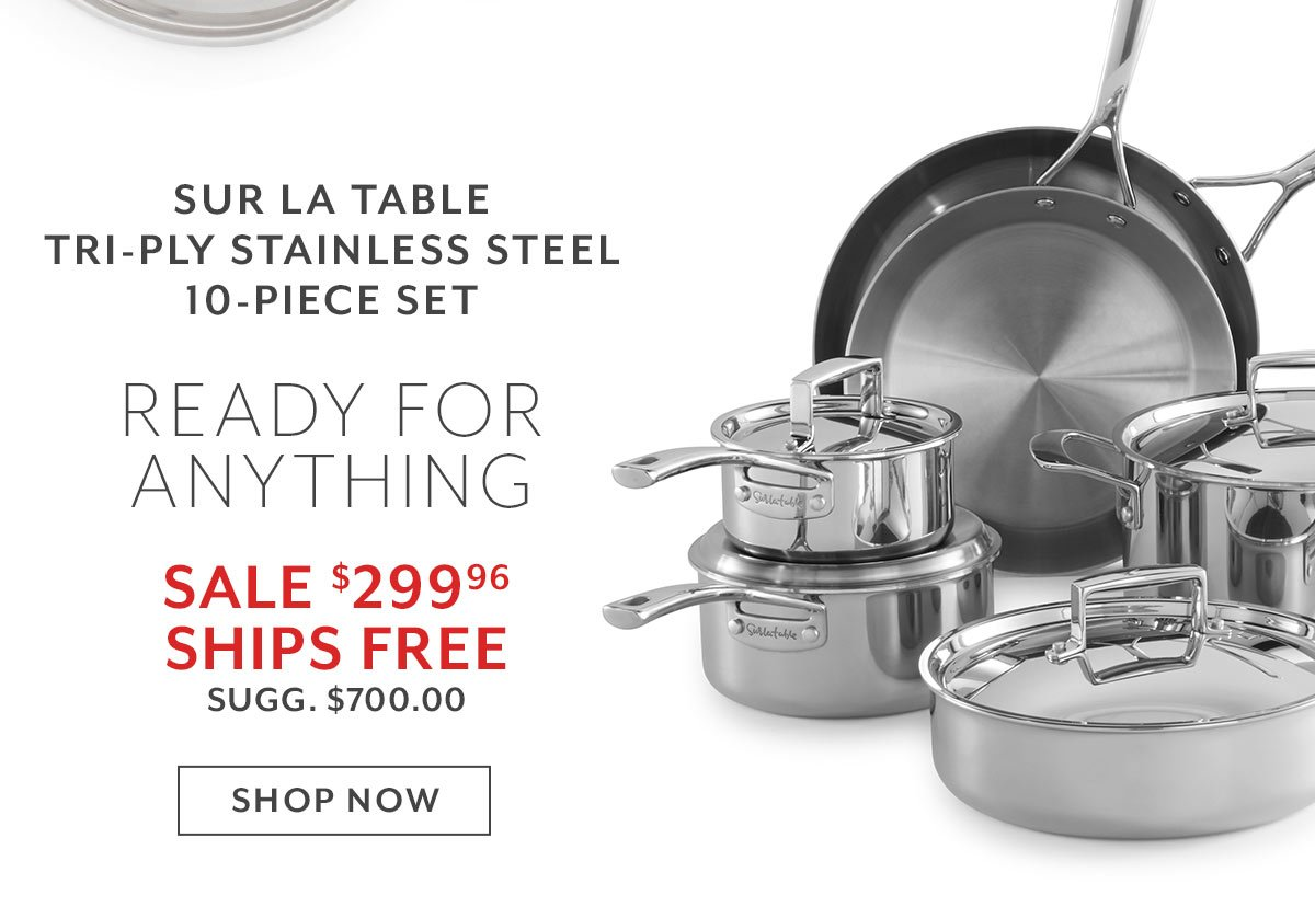 Sur La Table Tri-Ply Stainless Steel 10-Piece Set