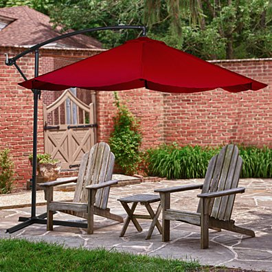 Offset 10 Foot Aluminum Hanging Patio Umbrella - Red with Base Bars