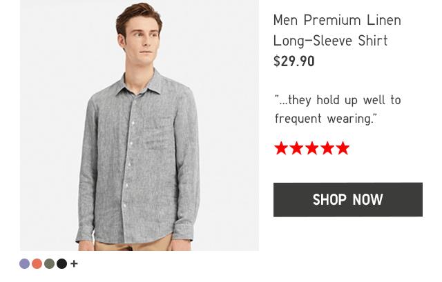 MEN PREMIUM LINEN LONG-SLEEVE SHIRT $29.90 - SHOP NOW