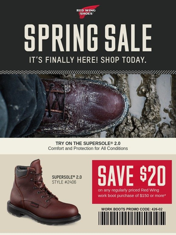 picture regarding Red Wing Coupon Printable called Purple Wing Sneakers: The Spring Sale Celebration: Its at some point in this article