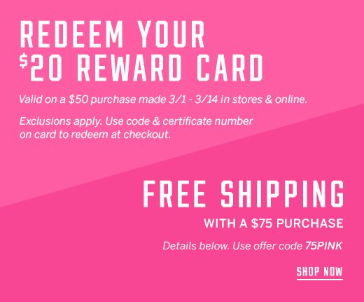 REEDEEM Your $20 Reward Card