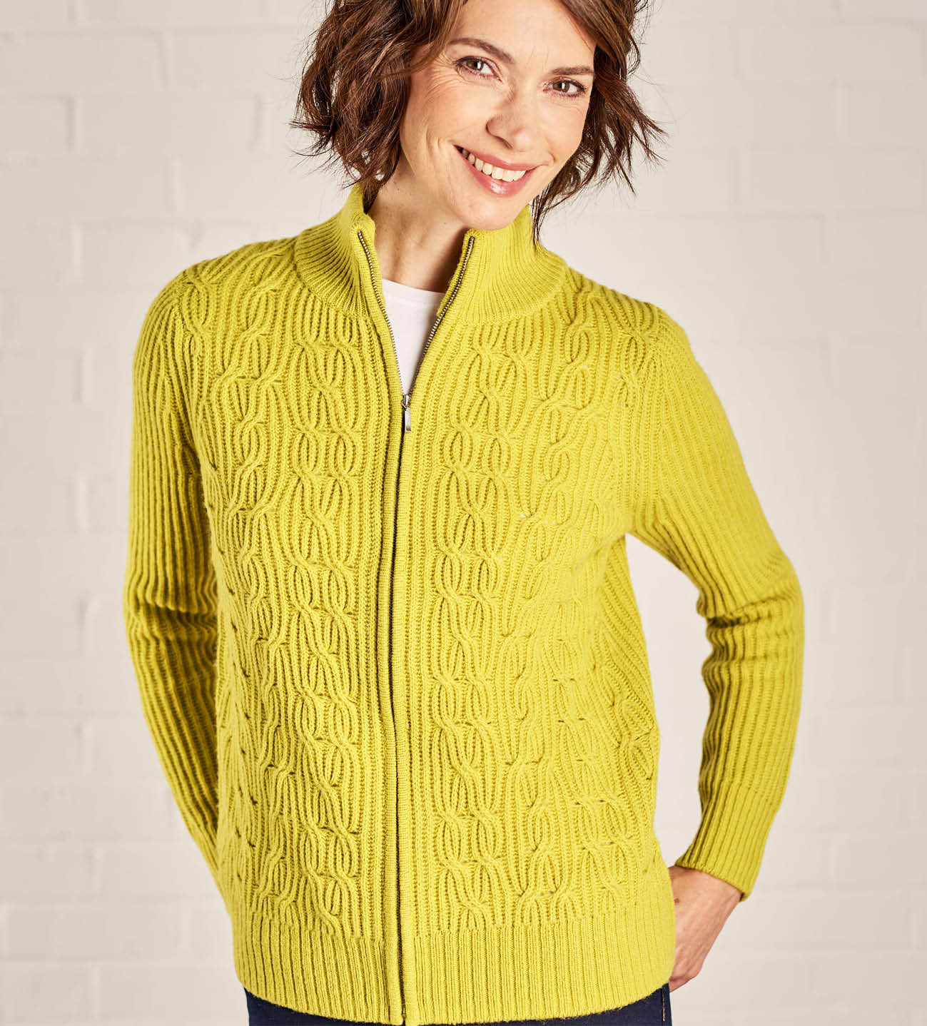 Womens Hidden Cable Zip Cardigan in Lichen Green