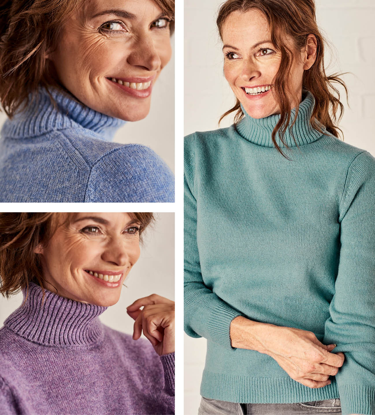 Lambswool Polo Neck Jumper in Sky Blue