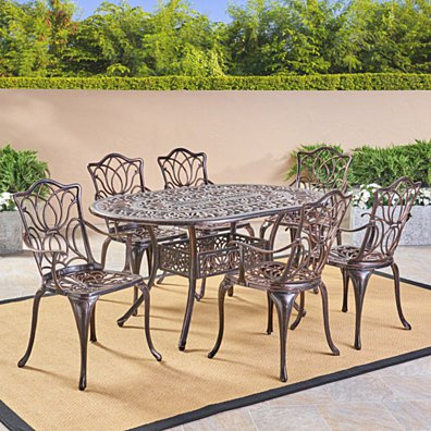 Gardena Outdoor 7pc Cast Aluminum Dining Set