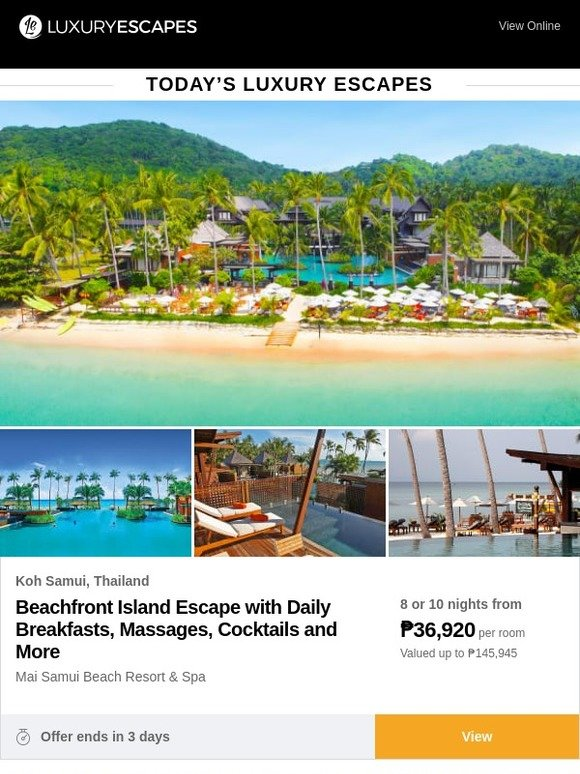 luxury escapes UK: Beachfront Koh Samui With Breakfasts